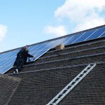 Solar panels being fitted to church roof