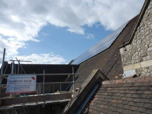 Church roof mounted solar panels